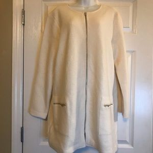 100% Merino Wool Cream Sweater Blazer NWT